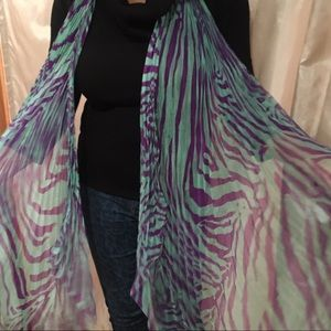 Dolce & Gabbana pleated silk scarf animal stripes